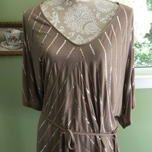 NY&CO Taupe color Blingy blouse L